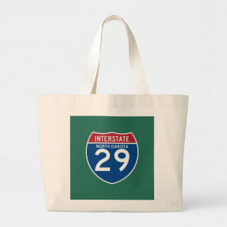 North Dakota ND I-29 Interstate Highway Shield - Large Tote Bag