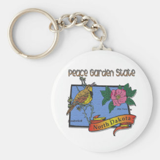 North Dakota Peace Garden State Lark Rose Keychain