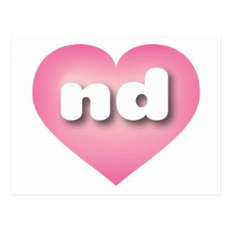 north dakota pink fade heart - mini love postcard