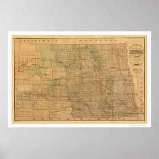 North Dakota Railroad Map 1892 Poster