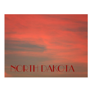 NORTH DAKOTA Red Sky Postcard