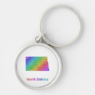 North Dakota Silver-Colored Round Keychain