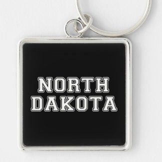 North Dakota Silver-Colored Square Keychain