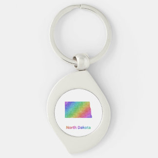 North Dakota Silver-Colored Swirl Keychain