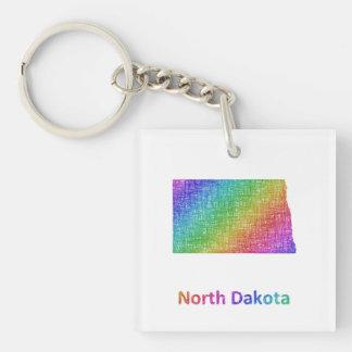 North Dakota Single-Sided Square Acrylic Keychain