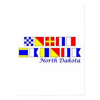 North Dakota spelled in nautical flag alphabet Postcard