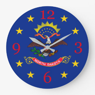 North Dakota State Flag on a Large Clock
