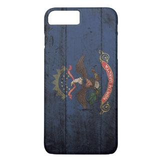North Dakota State Flag on Old Wood Grain iPhone 7 Plus Case