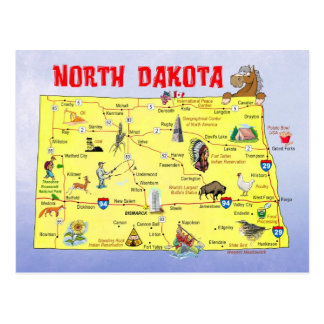 North Dakota State Map Postcard