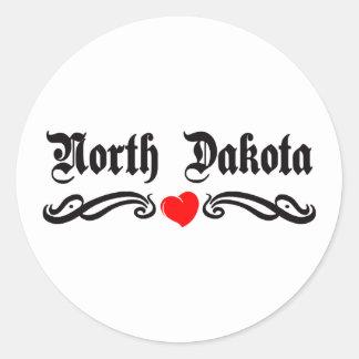 North Dakota Tattoo Classic Round Sticker