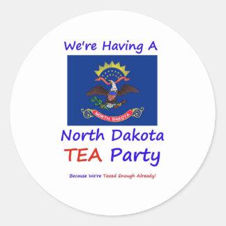 North Dakota TEA Party  We're Taxed Enough Already Round Sticker