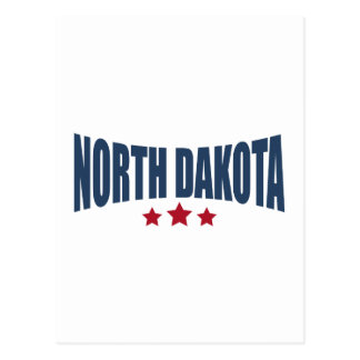 North Dakota Three Stars Design Postcard