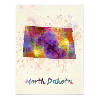North Dakota U.S. state in watercolor Photograph