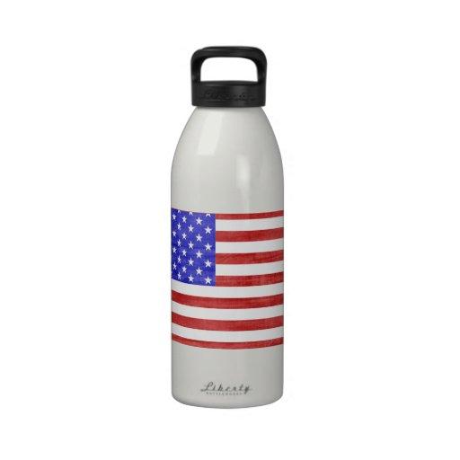 North Dakota USA flag silhouette state map Drinking Bottles