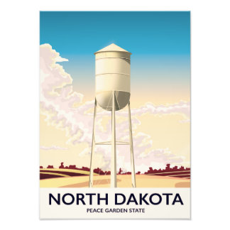 North Dakota Water Tower travel poster