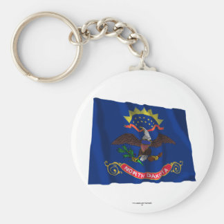 North Dakota Waving Flag Basic Round Button Keychain