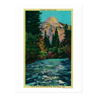 North Dome and Merced River from Happy Isles Postcard