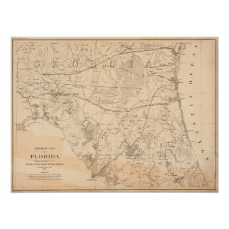 North Florida Vintage Map Poster