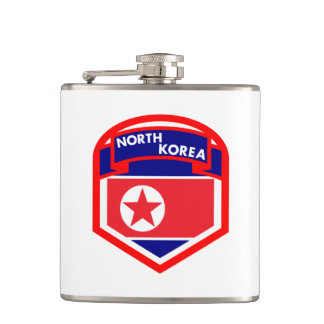 North Korea Flag Coat of Arms Hip Flask
