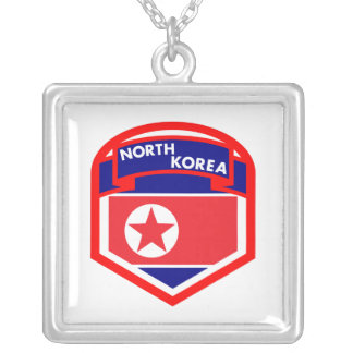 North Korea Flag Coat of Arms Silver Plated Necklace
