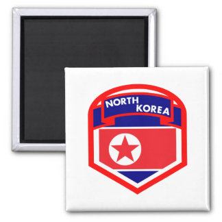 North Korea Flag Coat of Arms Square Magnet