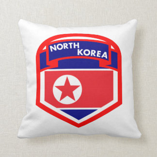 North Korea Flag Coat of Arms Throw Pillow