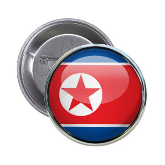 North Korea Flag Glass Ball 2 Inch Round Button