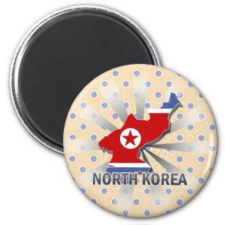 North Korea Flag Map 2.0 2 Inch Round Magnet