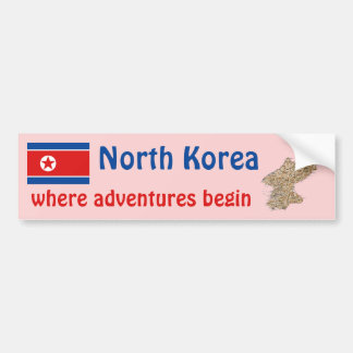 North Korea Flag + Map Bumper Sticker