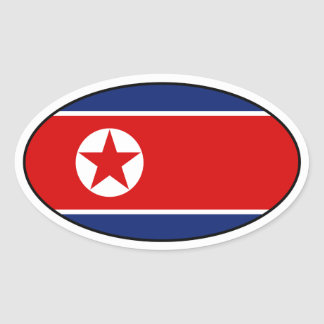 North Korea Flag Oval Sticker