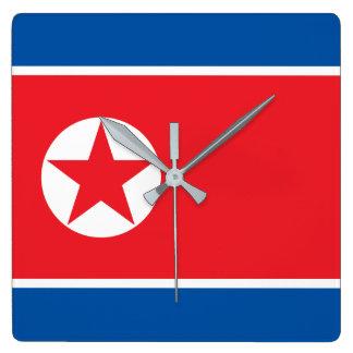 North Korea Flag Square Wall Clock