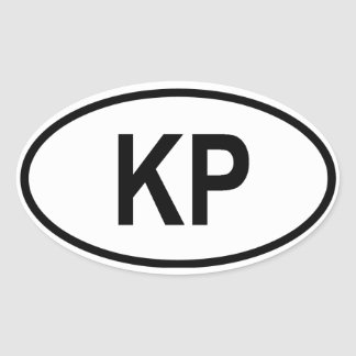 "North Korea ""KP"" Oval Sticker"