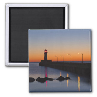 North pier Lighthouse in Duluth, Minnesota, Square Magnet