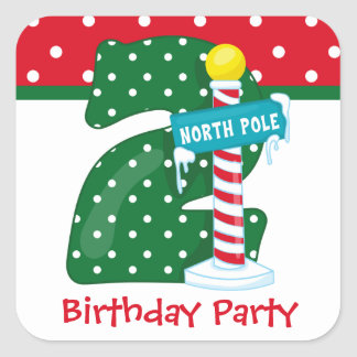 North Pole 2nd Birthday Square Sticker