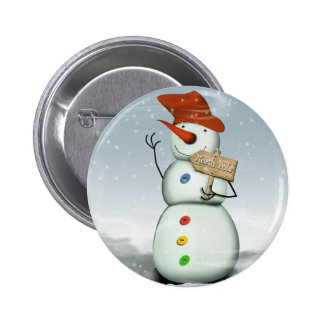 North Pole Bound Snowman 2 Inch Round Button