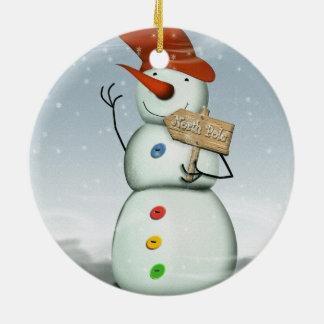 North Pole Bound Snowman Ceramic Ornament