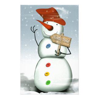 North Pole Bound Snowman Customized Stationery
