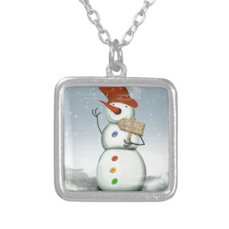 North Pole Bound Snowman Silver Plated Necklace
