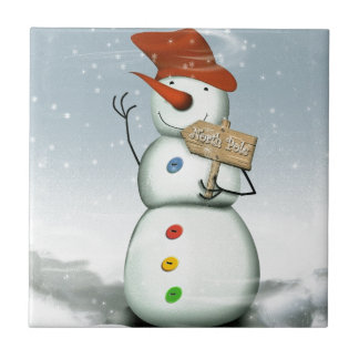 North Pole Bound Snowman Tile