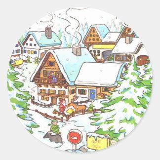 North Pole Classic Round Sticker