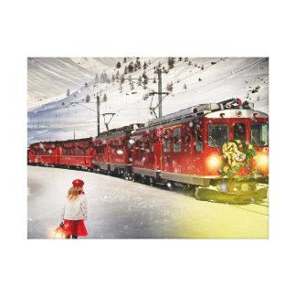 North pole express - christmas train - santa train canvas print