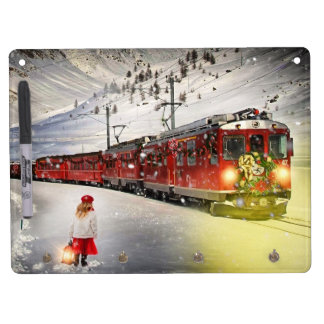 North pole express - christmas train - santa train dry erase board with keychain holder