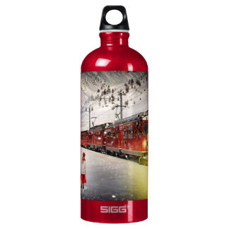 North pole express - christmas train - santa train water bottle