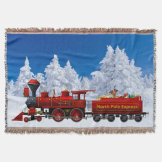 north pole express christmas train throw blanket