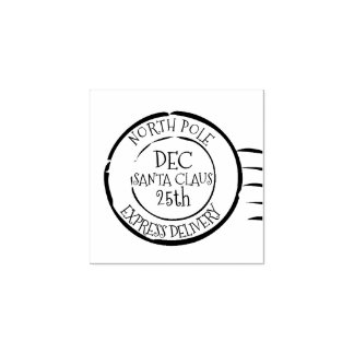 North Pole Express Delivery Santa Claus Rubber Stamp