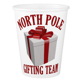 North Pole Gifting Team paper cups
