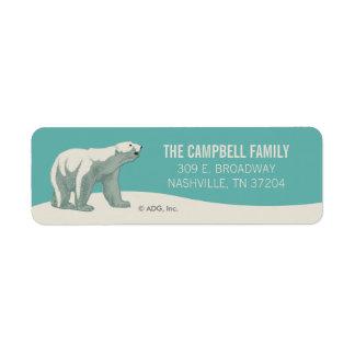 North Pole Holiday Polar Bear Return Address Label