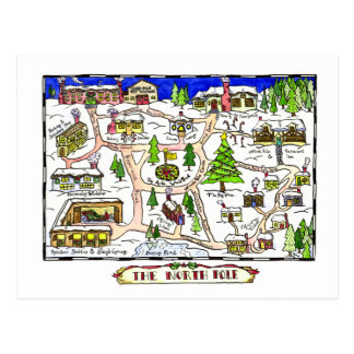 North Pole Map Christmas Postcard