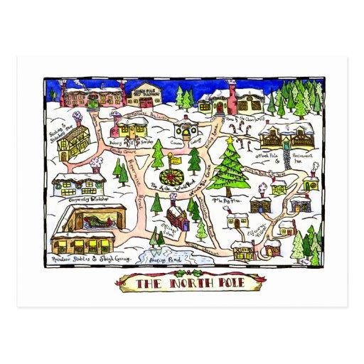 North Pole Map Christmas Postcard