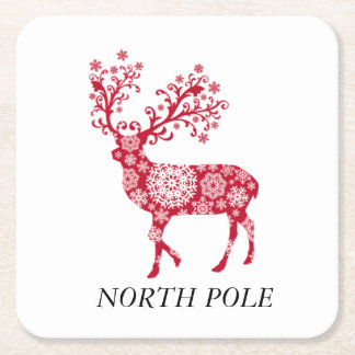 North Pole Red Reindeer Table Coasters